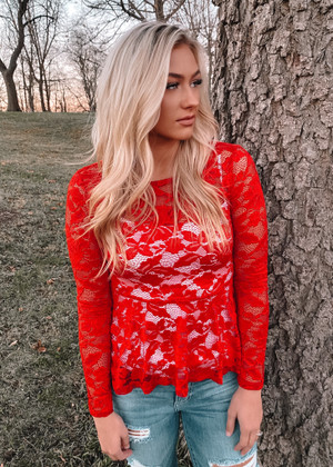 Lace High Low Ruffle Peplum Top Red
