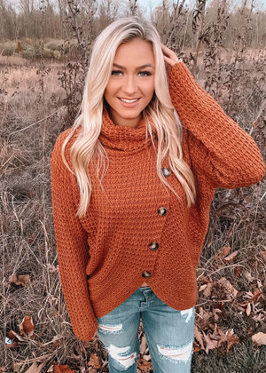 Turtleneck High Low Button Knit Sweater Honey Brown