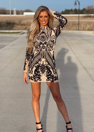 Holiday Sequins Stretch Dress Black