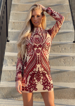 Holiday Sequins Stretch Dress Burgundy