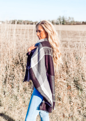 (Cyber Monday) Colorblock Plaid Patterned Blanket Shawl/Scarf Black