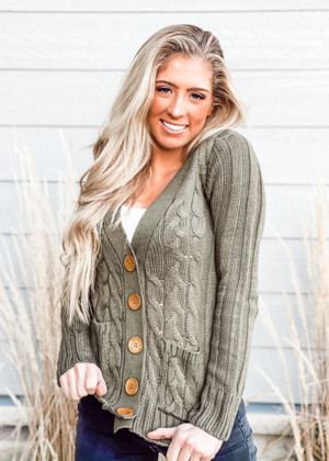 (Cyber Monday) Button Up Pocket Cable Knit Cardigan Olive