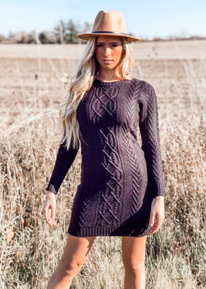 Cable Knit Sweater Dress Black