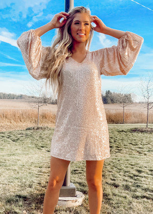 Hello Gorgeous Bubble Sleeve Fully Lined Sequins Dress Gold