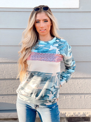 Camo Sequins Colorblock Top Green