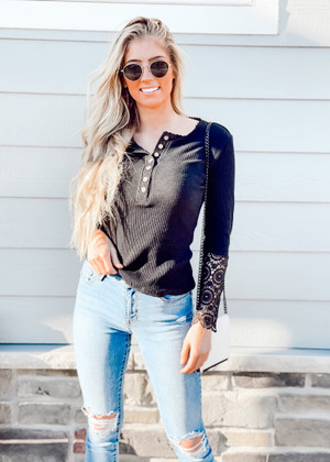 Amazing Details Button Up Crochet Lace Top Black