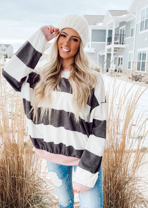 Oversized Charcoal Striped Top with Black/Mauve Trim