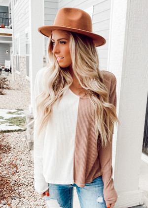 Long Sleeve Color Block Rib Knit Top Ivory/Taupe