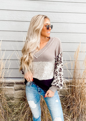 Popcorn Waffle Color Block Sequins and Leopard Puff Sleeves Top