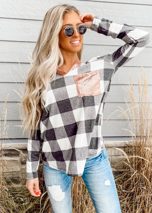 Checkered Plaid Terry Top with Sequins Details