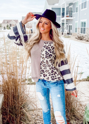 Waffle Knit Striped Sleeves Leopard Color Block Top Mocha