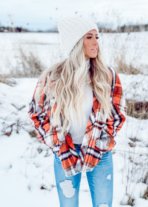 Plaid Print Oversized Slouchy Button Up Top Orange/Rust