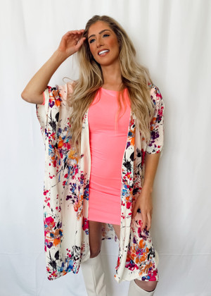 Floral Print Bell Sleeve Open Front Long Kimono with Side Slits Ivory