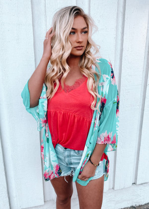 Loose Fit Floral Sheer Kimono Mint