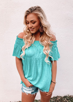 Perfectly Cinched Swiss Dot Fabric Off Shoulder Top Turquoise