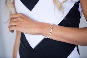Rhinestone Crystal StarFish Bracelet/Hair Tie Ivory