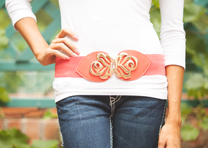 Coral Floral Buckle Belt CLEARANCE