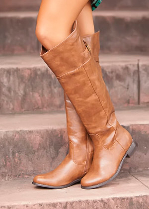 Faux Leather Open Back Riding Boots Tan CLEARANCE