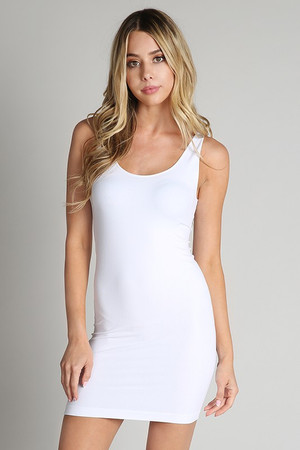Seamless Undergarment Tank Dress White