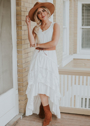 Country Club Ruffle Lace Dress Ivory