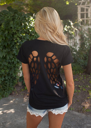 Angel Wing Cutout Top Black CLEARANCE