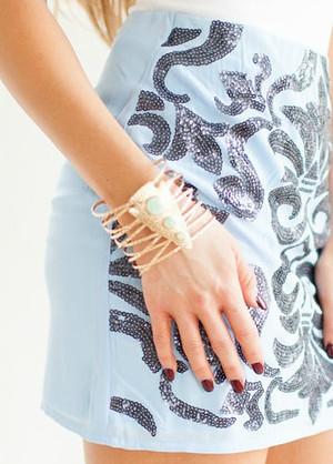 Mint Stone Cuff Bracelet CLEARANCE
