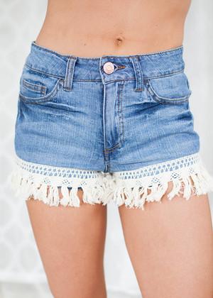 Dark Denim Fringed Shorts CLEARANCE