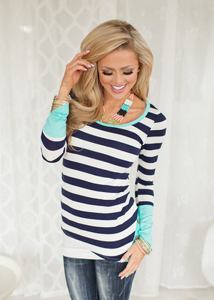Patches of Mint Striped Top Navy/Mint