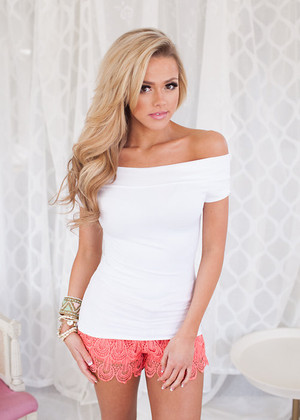 Cap Sleeve Off The Shoulder Seamless Top White