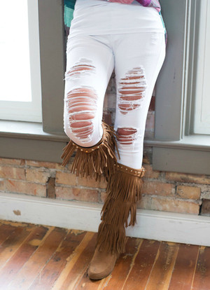 Chillin White Distressed Jeans CLEARANCE