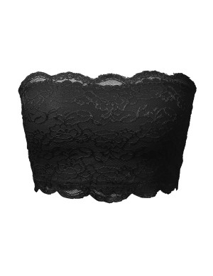 Perfect Scalloped Lace Bandeau Black