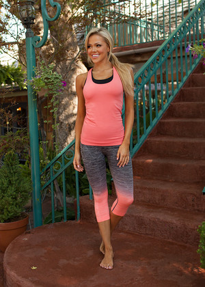 Ombre Capri Leggings Coral CLEARANCE