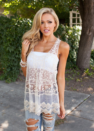 Spirited Sheer Lace Tank Cream