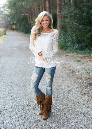 Embroidered Lace Sheer Blouse Ivory CLEARANCE