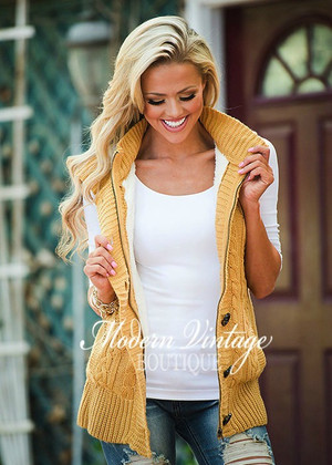 Intricate Hooded Button Up Vest Mustard CLEARANCE