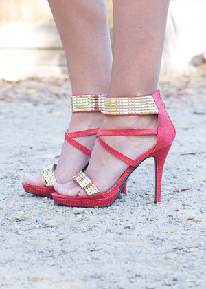 Holiday Gold/Red Strappy Heels CLEARANCE