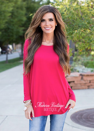 Piko Love Bamboo Soft Dolman Top Red CLEARANCE