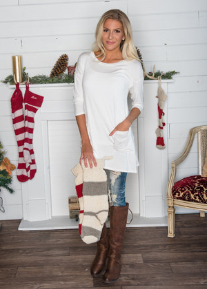 Get Lucky Back Button Tunic Top White CLEARANCE