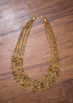 Gold Beaded Bib Necklace CLEARANCE