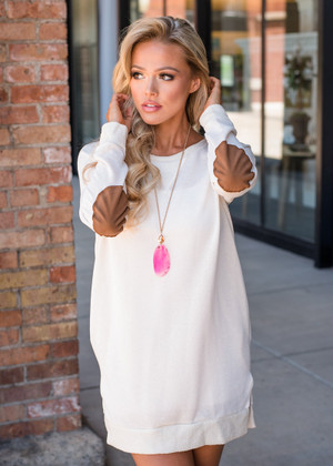 Can't Hide Love Elbow Patch Tunic/Dress Ivory CLEARANCE