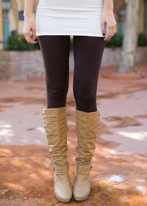 (Cyber Monday) Heavy Weight Fleece Seamless Leggings Chocolate