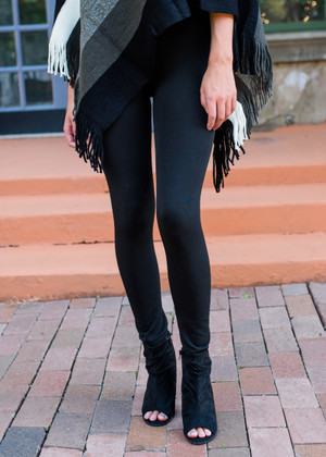 (Black Friday) Heavy Weight Fleece Seamless Leggings Black