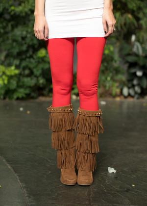 Heavy Weight Fleece Seamless Leggings Red