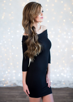 Amazing Seamless Black Off the Shoulder Dress CLEARANCE