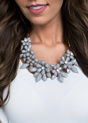 Jagged Edge Flower Jewel Necklace Charcoal CLEARANCE