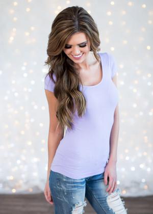 Lilac Seamless Cap Sleeve Top CLEARANCE