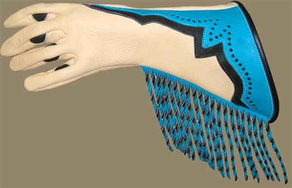 custom deerskin glove, blue and tan, twisted fringe