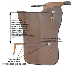 Calf closure, custom leg closure addition for batwing chaps