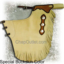buckskin chink, basket yokes and silver moon conchos