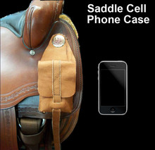 Saddle cell phone case, leather